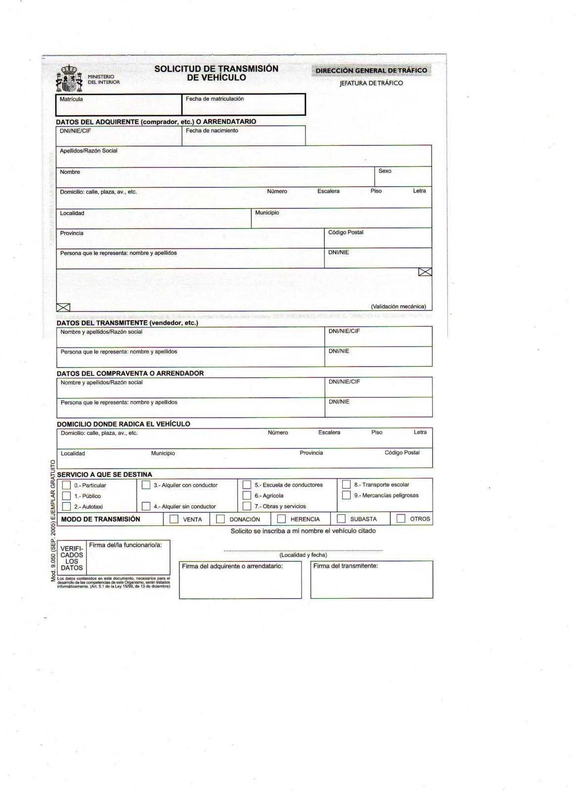 impreso transferencia vehiculo: