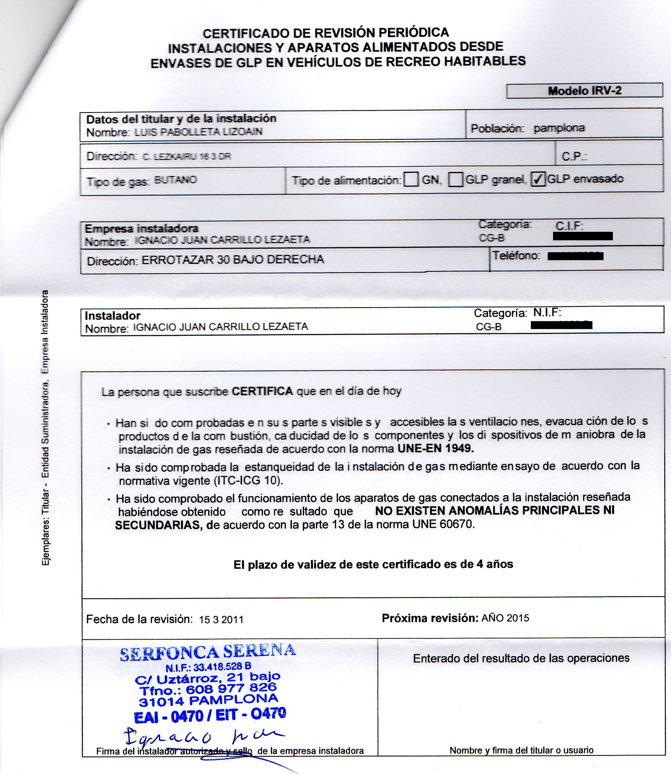 Revision del gas for Certificado de gas para autocaravanas